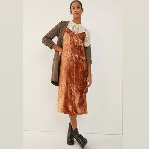 Anthropologie Lucie Embroidered Velvet Slip Dress